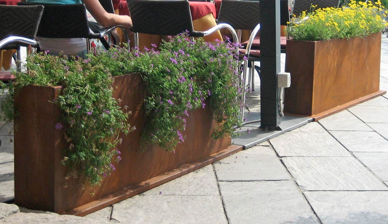 Lizart fioriere in metallo acciaio corten - Fioriere da esterno in pietra ...